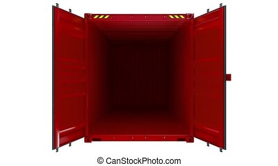 Opening shipping container, cargo. Isolated on White...
