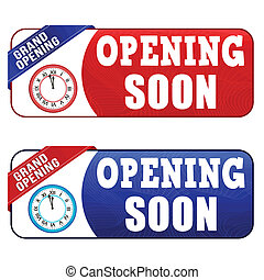 Opening soon coupon, voucher, tag. Red and blue template...