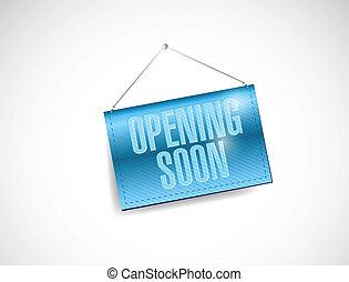 opening soon hanging banner illustration