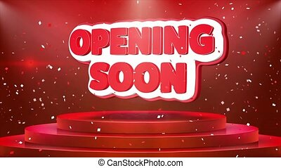 Opening Soon Text Animation Stage Podium Confetti Loop...