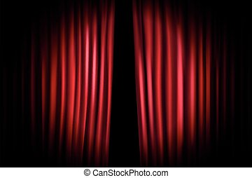 Opening stage curtains with shining microphone. Vector illustration. Standup show template