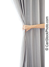 Opening the curtain and hand
