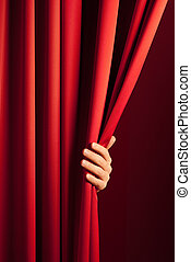 opening the curtain - male hand disclose the scene shifting ...