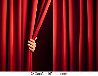 opening the curtain - male hand in the act of disclose the ...