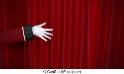 usher, opens red curtain