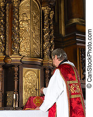 Opening the tabernacle - Priest opening the 17th century ...