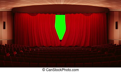 Opening theater (cinema) curtains - Opening red cinema...