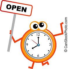 opening time - Mr clock man holding an OPEN sign isolated on...