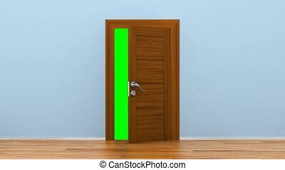 Opening wooden door with metallic handle