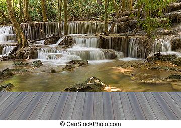 Natural waterfall - Opening wooden floor, Natural waterfall...