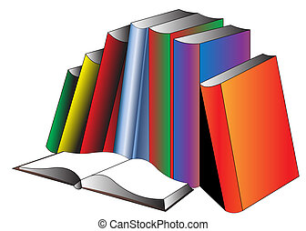 Openning book and pile of the books