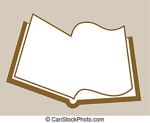 openning book silhouette on brown background, vector illustration