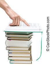 openning, livro, mão, pontos, para, texto