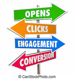 Opens Clicks Engagement Conversion Email Marketing Signs 3d Illustration