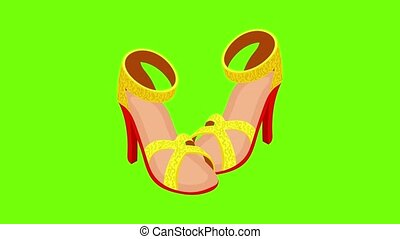 Opentoe sandals icon animation cartoon best object on green screen background