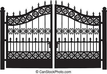 openwork, aço, portão