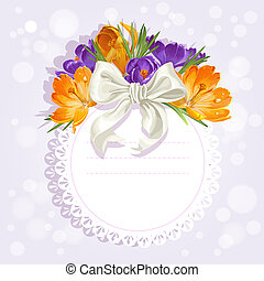 Openwork card with flowers beautiful yellow and purple crocuses. Just print and sign