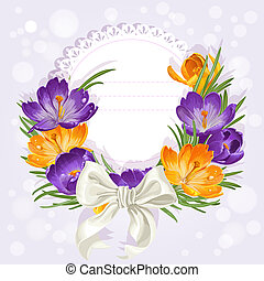 Openwork card with wreath of beautiful yellow and purple crocuses. Just print and sign
