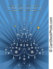 Openwork Christmas tree with bells on a radiant blue...