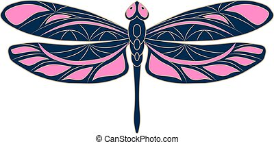 Openwork dragonfly icon. Colorful vector illustration. Isolated blue-pink element with a beige outline on a white background. Creative modern concept for the design of logos, prints, covers, crafts.