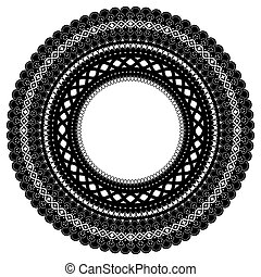 Openwork frame. Isolated black lace ornament