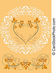 Openwork frame with orange flowers and hearts on an orange...