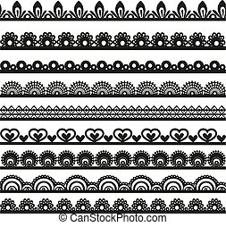 Large set of openwork lace borders black silhouette for