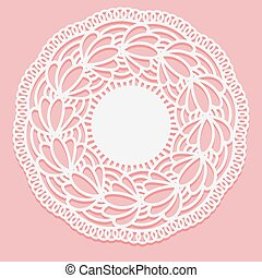 Openwork lace napkin. Template for laser cutting. Round Monochrome ornamental simple drawing.
