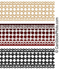 Openwork lace seamless border. Realistic vector...