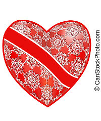 Openwork, red heart with a ribbon