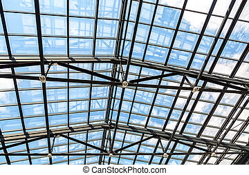 Openwork steel and glass ceiling