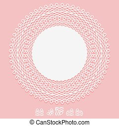 Openwork white napkin and elements of pattern brush. Lace frame round element on pink background.
