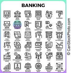 operação bancária, ícones conceito