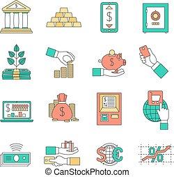 operação bancária, ícones negócio, jogo