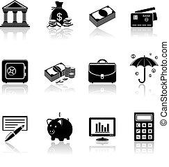operação bancária, ícones