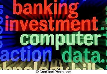 operação bancária, computador, investimento