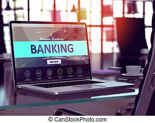 operação bancária, conceito, ligado, laptop, screen.