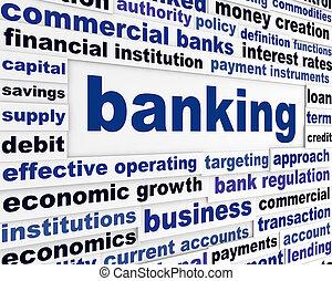 operação bancária, conceito, negócio, palavras