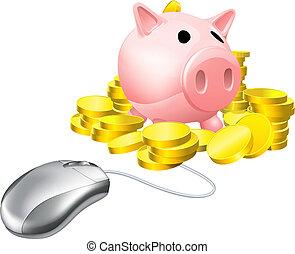 operação bancária, conceito, online