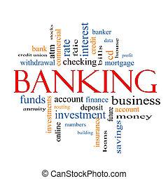 operação bancária, conceito, palavra, nuvem