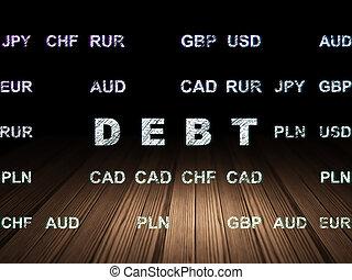 operação bancária, concept:, dívida, em, grunge, quarto escuro