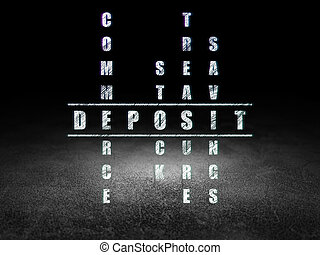 operação bancária, concept:, depósito, em, palavras cruzadas