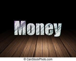 operação bancária, concept:, dinheiro, em, grunge, quarto escuro