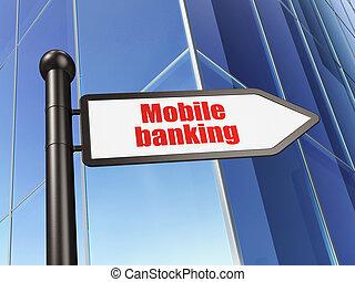 operação bancária, concept:, sinal, móvel, operação bancária, ligado, predios, fundo