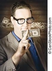 operação bancária, homem negócio, com, dinheiro americano