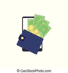 operação bancária, isolated., digital, móvel, conceito, símbolo, apartamento, carteira, vetorial, ilustração