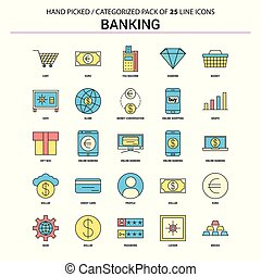 operação bancária, linha plana, ícone, jogo, -, conceito negócio, ícones, desenho