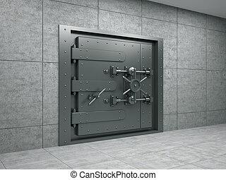 operação bancária, metálico, porta