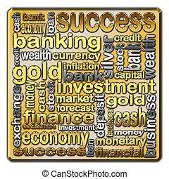 operação bancária, nuvem, descrever, finanças, palavras
