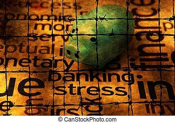 operação bancária, tensão, conceito